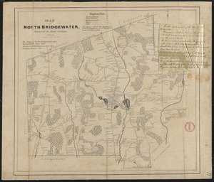 Plan of Brockton (North Bridgewater) made by Jesse Perkins, dated 1830
