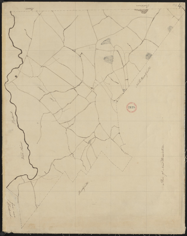 Plan of New Braintree made by Gardner Ruggles, dated 1830