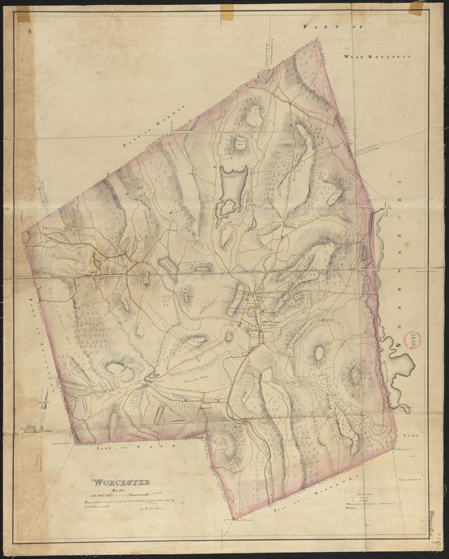 Plan of Worcester made by H. Stebbins, dated 1831
