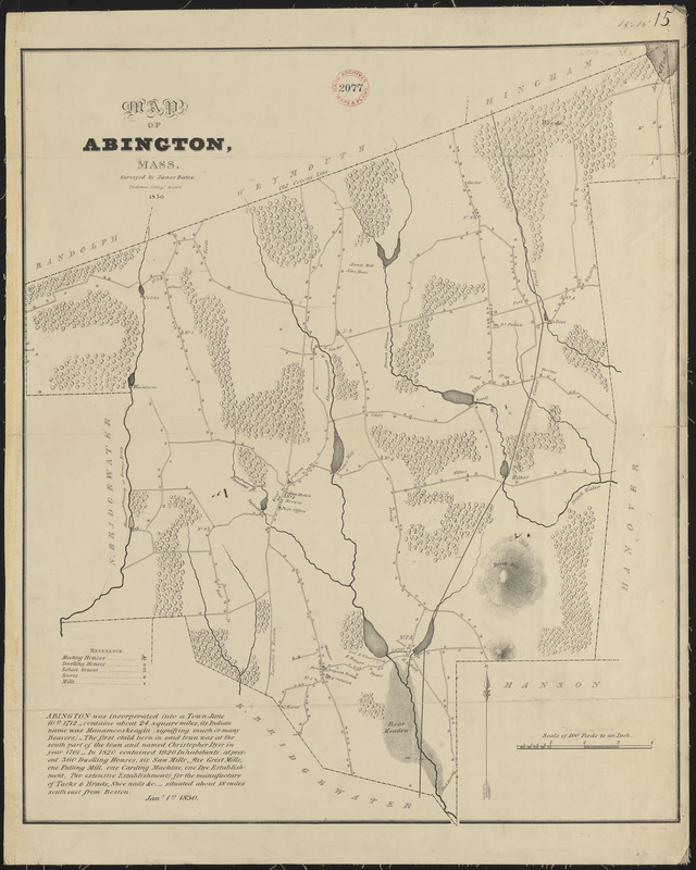 Plan of Abington made by James Bates, dated 1830