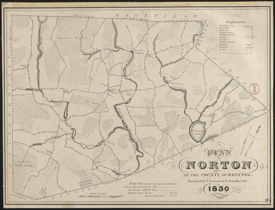 Plan of Norton made by E. Lincoln and C. Leonard, dated October 1830