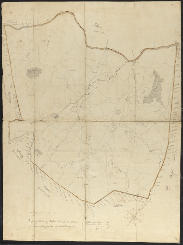 Plan of Andover made by Moses Dorman, Jr., dated 1830