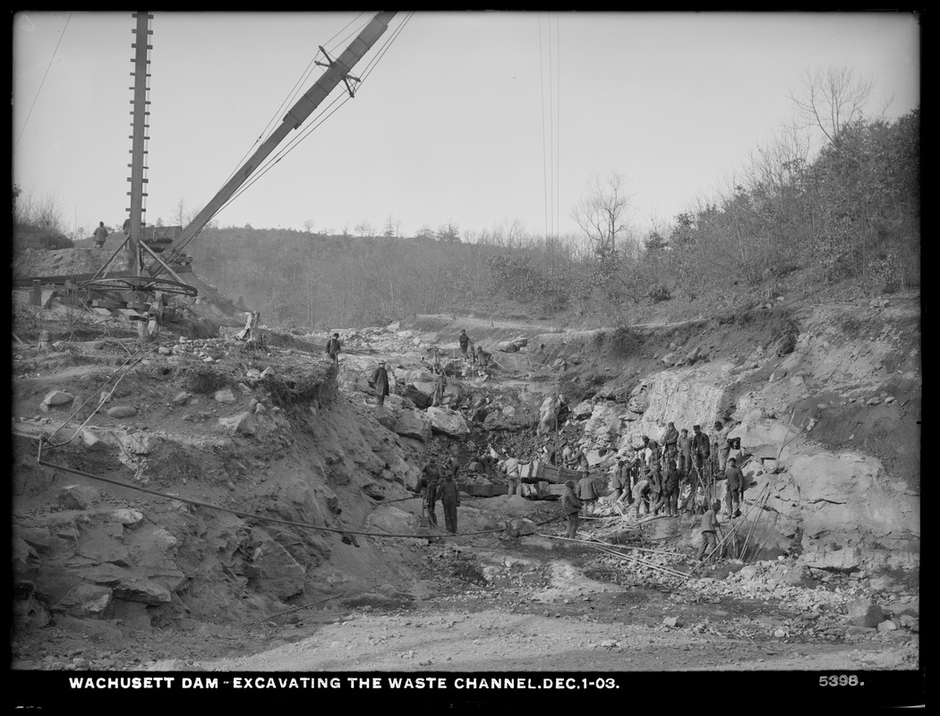 Wachusett Dam, excavating the waste channel, Clinton, Mass., Dec. 1, 1903