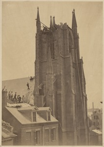 """Old """"Cockerel Church,"""" Hanover St., after the Gale of September, 1869"""