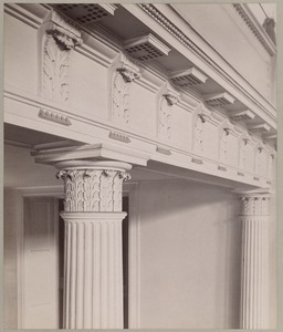 Old West Church, detail of carving on balcony & columns. Built 1806, Asher Benjamin, arch.