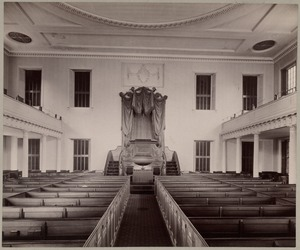 Old West Church, interior of church with pews and altar. Built 1806, Asher Benjamin, arch.