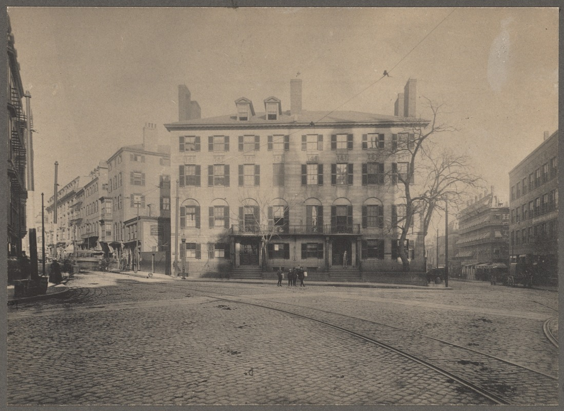 Boston, Massachusetts. Bowdoin Square in 1880, showing Parkman House. Built  about 1816