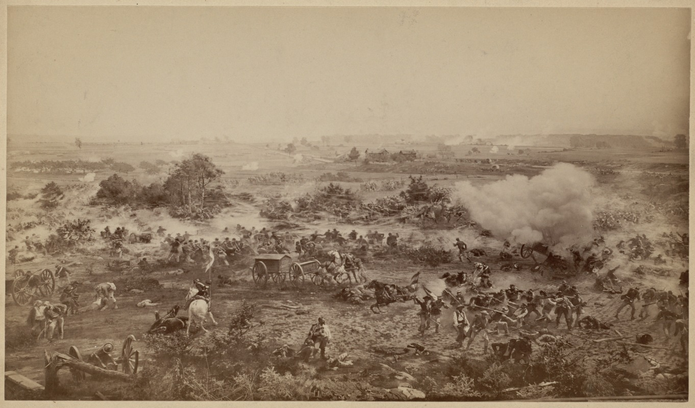 """""""Above the bayonets, mixed and crossed"""" One of eight scenes from the Cyclorama - The Battle of Gettysburg by Paul Philippoteaux"""