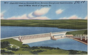 Clark Hill Dam on Savannah River, between Georgia and South Carolina about 22 miles north of Augusta, Ga.