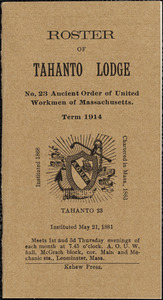 Ancient Order of United Workmen, Tahanto Lodge #23, roster of members.