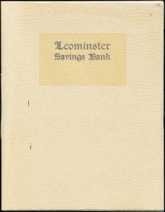 Leominster Savings Bank, 50th anniversary booklet, 1865-1915