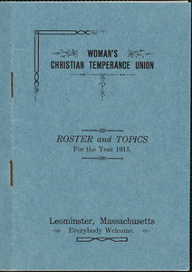 Women's Christian Temperance Union, roster and topics for the year 1915