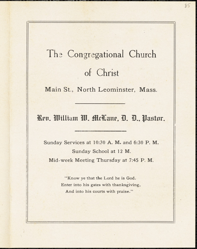 Congregational Church of Christ, North Leominster, calendar for the week of April 5, 1914