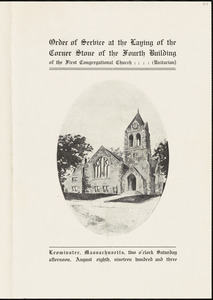 Order of service at the laying of the corner stone of the fourth building of the First Congregational Church (Unitarian), August 8, 1903