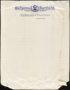 Charles H. Stevens Post 53, G.A.R., Leominster, Mass., cover sheet of post stationery