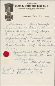 Charles H. Stevens Women's Relief Corps #31, Leominster, handwritten note about roster of 1914 officers