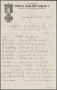 Charles H. Stevens Women's Relief Corps #31, Leominster, list of 1915 officers, dated June 25, 1915