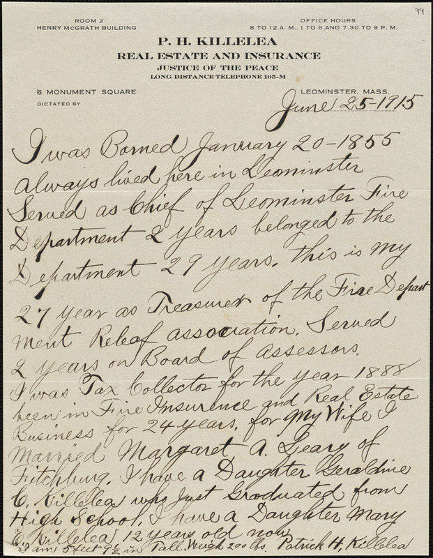 Autobiographical note by Patrick H. Killelea