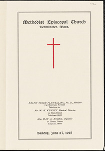 Methodist Episcopal Church program for Sunday, June 27, 1915