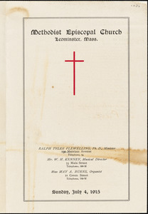 Methodist Episcopal Church program for Sunday, July 4, 1915