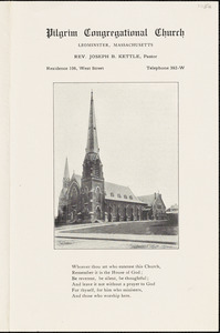 Pilgrim Congregational Church, calendars, June 27, 1915, marking Leominster's 175th anniversary