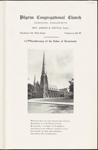 Pilgrim Congregational Church, calendars, July 4, 1915, marking Leominster's 175th anniversary