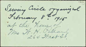 [Ladies'] Sewing Circle of St. Leo's Church, organized February 8, 1915