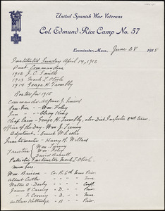 U.S. War Veterans, Col. Edmund Rice Camp No. 57, Dept. of Massachusetts