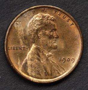 Coin, Lincoln penny, 1909