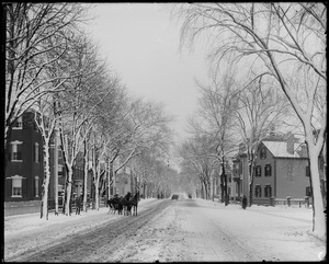 Salem, Lafayette Street south from engine house, views, after storm 1891