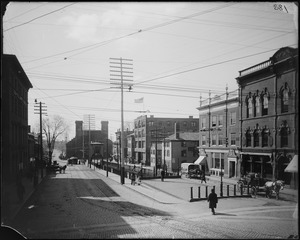 Salem, Washington Street south from Essex, view of rail road station