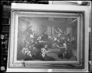 """Painting, """"Trial of George Jacobs for Witchcraft"""" at the Essex Institute"""