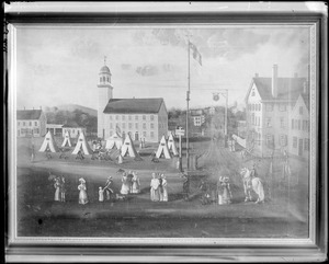 Painting, Peabody Square and Town Hall, 1819
