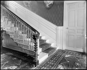 Danvers, Collins Street, interior detail, newel post in hall at Francis Peabody house