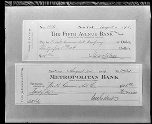 Salem, objects, checks paid to Frank Cousins Art Company in August, 1909