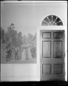 Boston, 40 Beacon Street, interior detail, doorway and wallpaper, Daniel P. Parker house