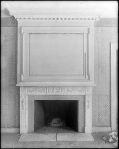Jamaica Plain, 685 Centre Street, interior detail, mantel, marble, and panel, Penney-Hallet house