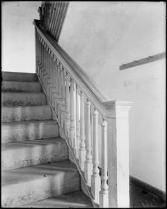 Horsham, Pennsylvania, 859 County Line Road, interior detail, newel and stairway, Keith House, 1721