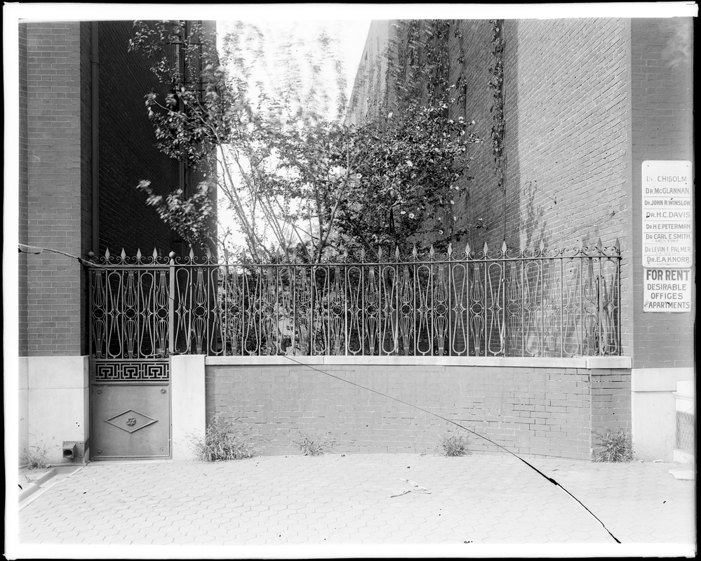 Baltimore, Maryland, 118 West Franklin Street, exterior detail, fence, iron, unknown house