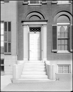 Baltimore, Maryland, 415 North Charles Street, exterior detail, door, Cohen house
