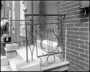 Baltimore, Maryland, 409 Saint Paul Street, exterior detail, door, iron rail, unknown house