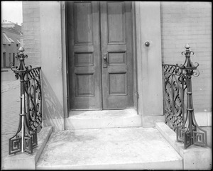 Baltimore, Maryland, 100 East Franklin Street, exterior detail, iron rail, unknown house