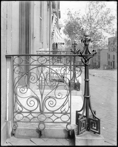 Baltimore, Maryland, 100 East Franklin Street, exterior detail, iron rail