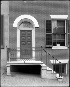 Baltimore, Maryland, East Pleasant Street, exterior detail, door and railing, unknown house