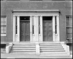 Baltimore, Maryland, 8 and 10 East Franklin Street, exterior detail, twin doors and steps, unknown house