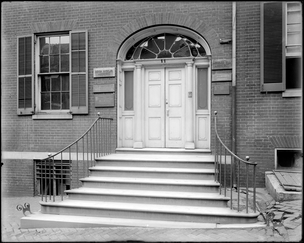 Baltimore Maryland, 11 East Pleasant Street, exterior detail, door, steps, rail, unknown house