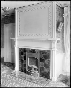 Portsmouth, New Hampshire, 114 Islington Street, interior detail, mantel, W. H. Mortin house