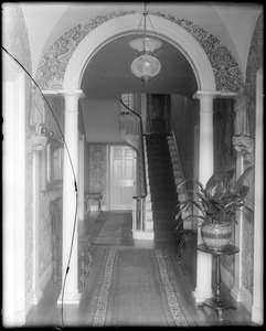 Portsmouth, New Hampshire, 180 Middle Street, interior detail, stairway and hall, Larkin, Richter house