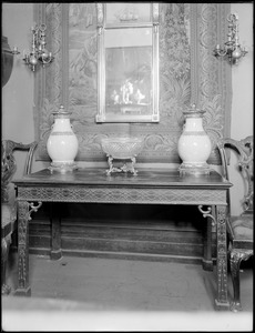 Objects, furniture, Chippendale table, mirror, and candle holders