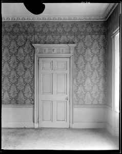 Boston, 2 Lynde Street, interior detail, door and wallpaper, first floor, front room, Harrison Gray Otis house